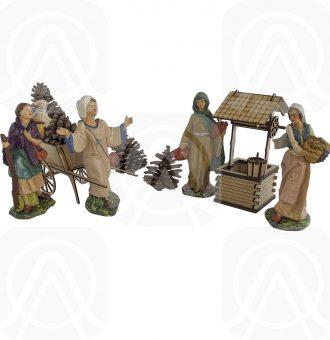 4 Pastores Para Nacimiento Resina 20cm Y Accesorios